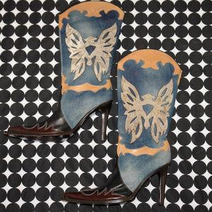 BCBGMaxAzria Leather Denim Butterfly Boots Heels 9